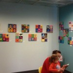 Vibrant and very colorful art in the teen area