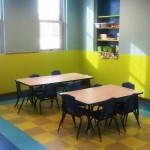Kids activity room with the most colorful floor tiles known to man!